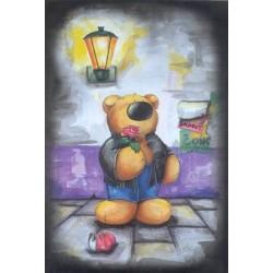 Bjørn med rose, 62 x 93 cm